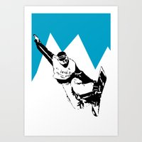 snowboarding Art Prints featuring Snowboarding Design by Cwilwol