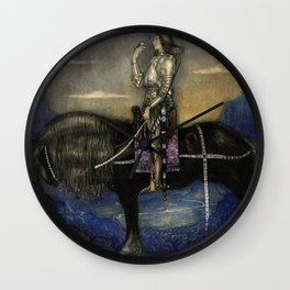 """""""A Knight Rode Up""""Watercolor by John Bauer Wall Clock"""