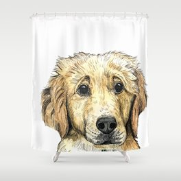 Yellow Lab Puppy Drawing Shower Curtain
