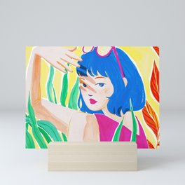 Girl with Freckles on Sunny Day Mini Art Print