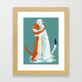 Weasel hugs Framed Art Print