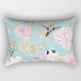 Pastel Teal Vintage Roses and Hummingbird Pattern Rectangular Pillow