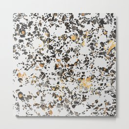 Gold Speckled Terrazzo Metal Print