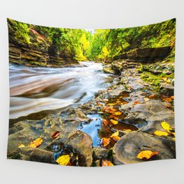 Autumn Leaves and Raging River Wall Tapestry