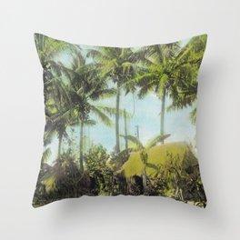 Little Grass Shacks Beneath Palm Trees in Hawaii Throw Pillow