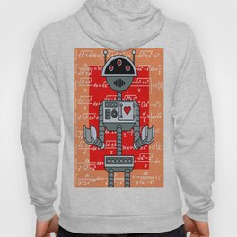 Nerdy Robot Print with math formulas in background Hoody