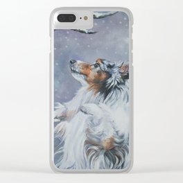 SHELTIE Shetland Sheepdog dog art from an original painting by L.A.Shepard Clear iPhone Case