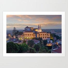 Palacio Nacional de Sintra at dusk, Portugal Art Print