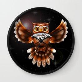 Surreal Owl Metallic Flying on the Night 3d Wall Clock