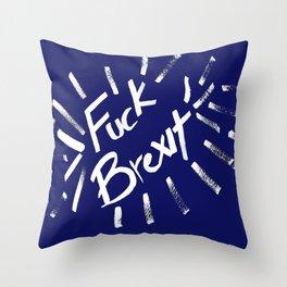 Fuck Brexit White & Blue Throw Pillow