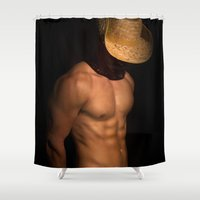cowboy bebop Shower Curtains featuring cowboy by mark ashkenazi