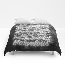 Grey positive word cloud by Brian Vegas Comforters