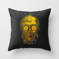 c3po Throw Pillows featuring C3PO Splash by Sitchko Igor