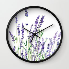 lavender watercolor horizontal Wall Clock