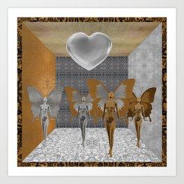Fairies Worshipping Love Art Print