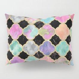 Colorful black watercolor faux gold glitter quatrefoil Pillow Sham