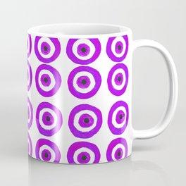 Evil Eye Amulet Talisman in Purple on White Coffee Mug