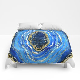 Cobalt blue and gold geode in watercolor Comforters