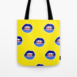 blue lips Tote Bag