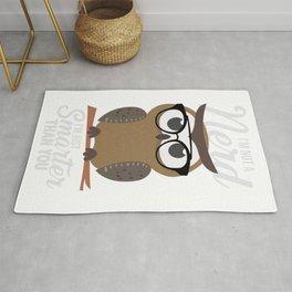 nerdy owl intelligent smart reading funny gift Rug