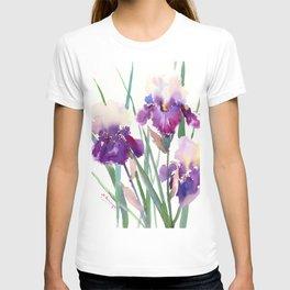 Irises, purple floral art, garden iris T-shirt