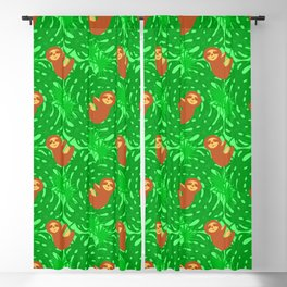 Cute lazy funny baby sloths, green tropical exotic monstera philodendron leaves pattern Blackout Curtain