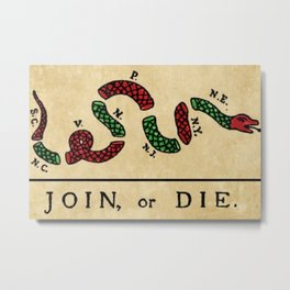 """1776 """"Join, or Die"""" Revolutionary War flag with 13 colonies, snake & colors by Benjamin Franklin Metal Print"""