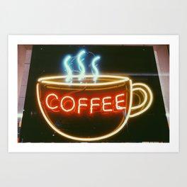 Coffee Shops and Neon Lights Art Print