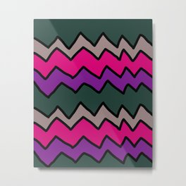 Green and Pink Zig Zags Metal Print