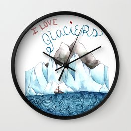 I Love Glaciers Wall Clock