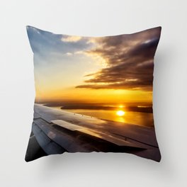 Aerial Sunset Above Seattle Throw Pillow