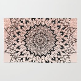 Boho black watercolor floral mandala rose gold glitter ombre pastel blush pink Rug