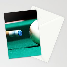 Pool Table-Green Stationery Cards