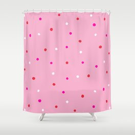 confetti dots: pink red & white Shower Curtain