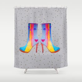The Elisavet's Painted Boots | Kids painting |Fashion Design Shower Curtain
