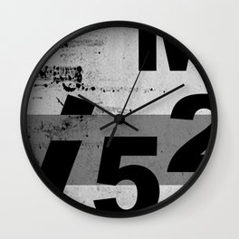GRUNGE TECHNO V52m Typography | smoke grey black Wall Clock