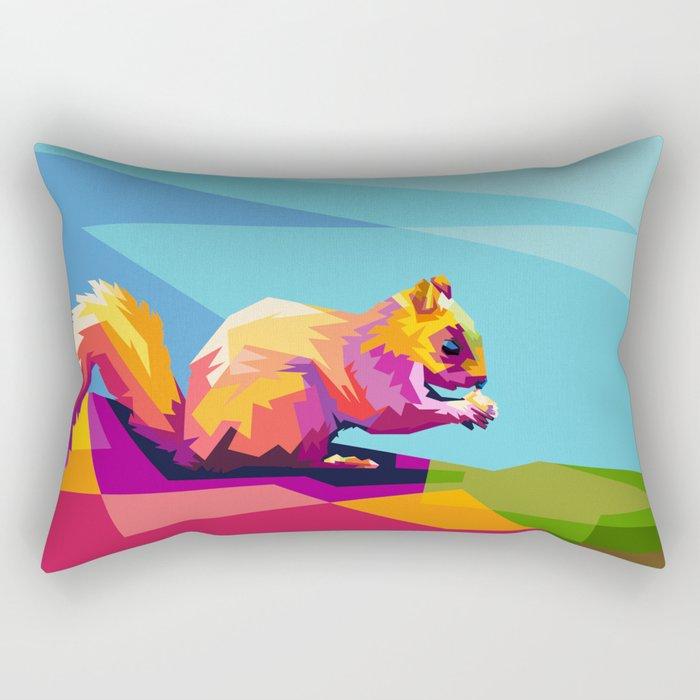 Squirrel Colorfull Rectangular Pillow