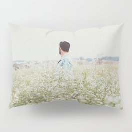 Man - Flowers - Field - Photography Pillow Sham
