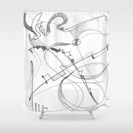 paradise in pencil Shower Curtain