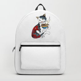 Cat Drinking Coffee With Fish Tattoo - Cat & Coffee Lovers gift idea Backpack