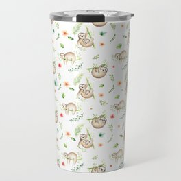 Modern green pink brown watercolor sloth floral pattern Travel Mug