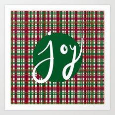 Holiday Plaid Joy - Green Art Print