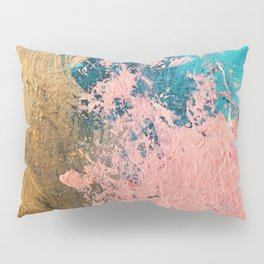 Coral Reef [1]: colorful abstract in blue, teal, gold, and pink Pillow Sham