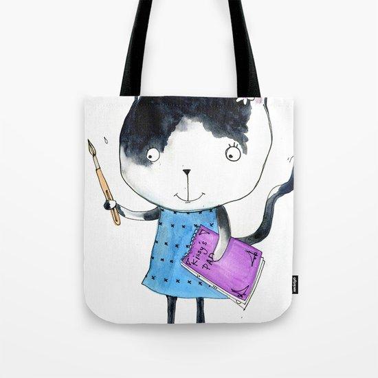 Creative Mono Cat  Tote Bag