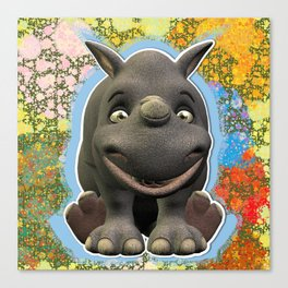 Grinning Young Rhino Canvas Print