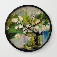 Bouquet of snowdrops Wall Clock
