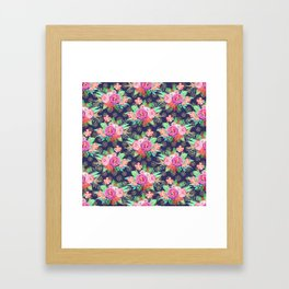 Pretty Christmas floral and snowflakes design Framed Art Print