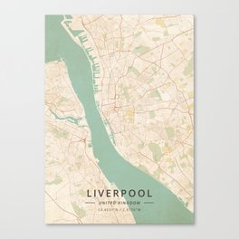 Liverpool, United Kingdom - Vintage Map Canvas Print