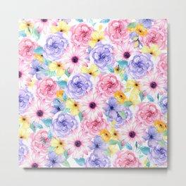 Trendy pink lavender yellow watercolor floral Metal Print