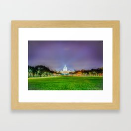 The Capitol Building At Night Framed Art Print
